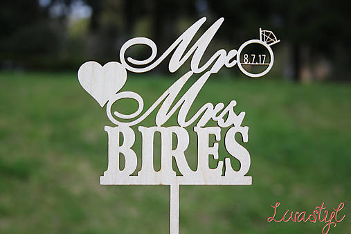 Svadobný zápich Mr Mrs a prsteň