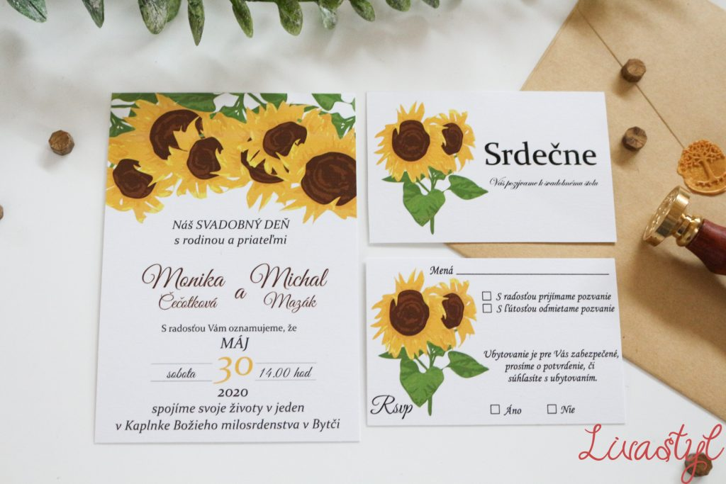 svadobné oznámenie slnečnice