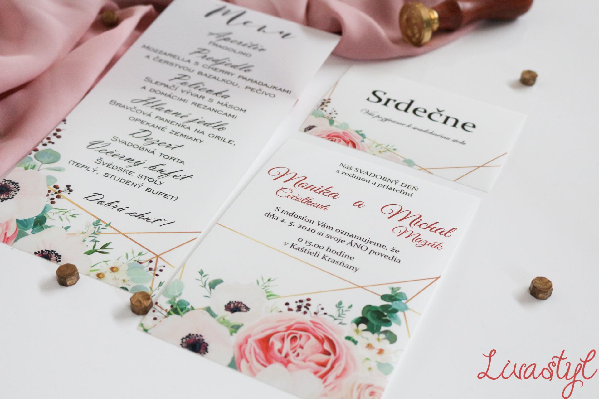 svadobné oznámenie opálový papier